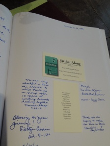 Card inserted into guest book at Hotel de la Paix.